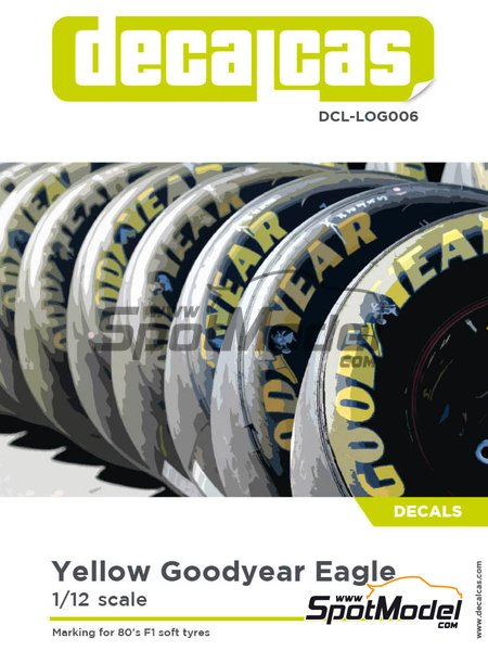 Good Year Eagle tyre marking set | Logotypes in 1/12 scale manufactured by Decalcas (ref. DCL-LOG006) image