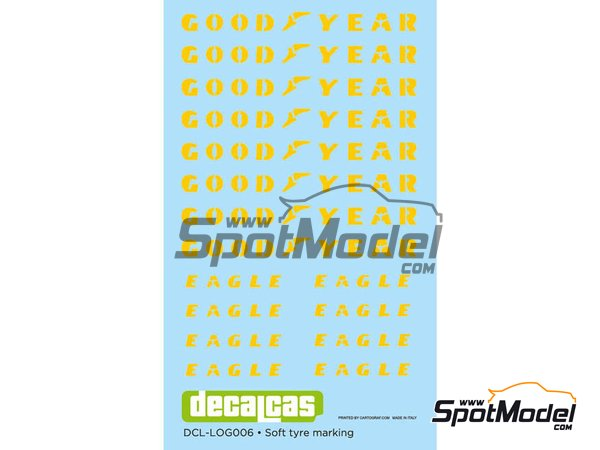 Image 1: Good Year Eagle tyre marking set | Logotypes in 1/12 scale manufactured by Decalcas (ref. DCL-LOG006)