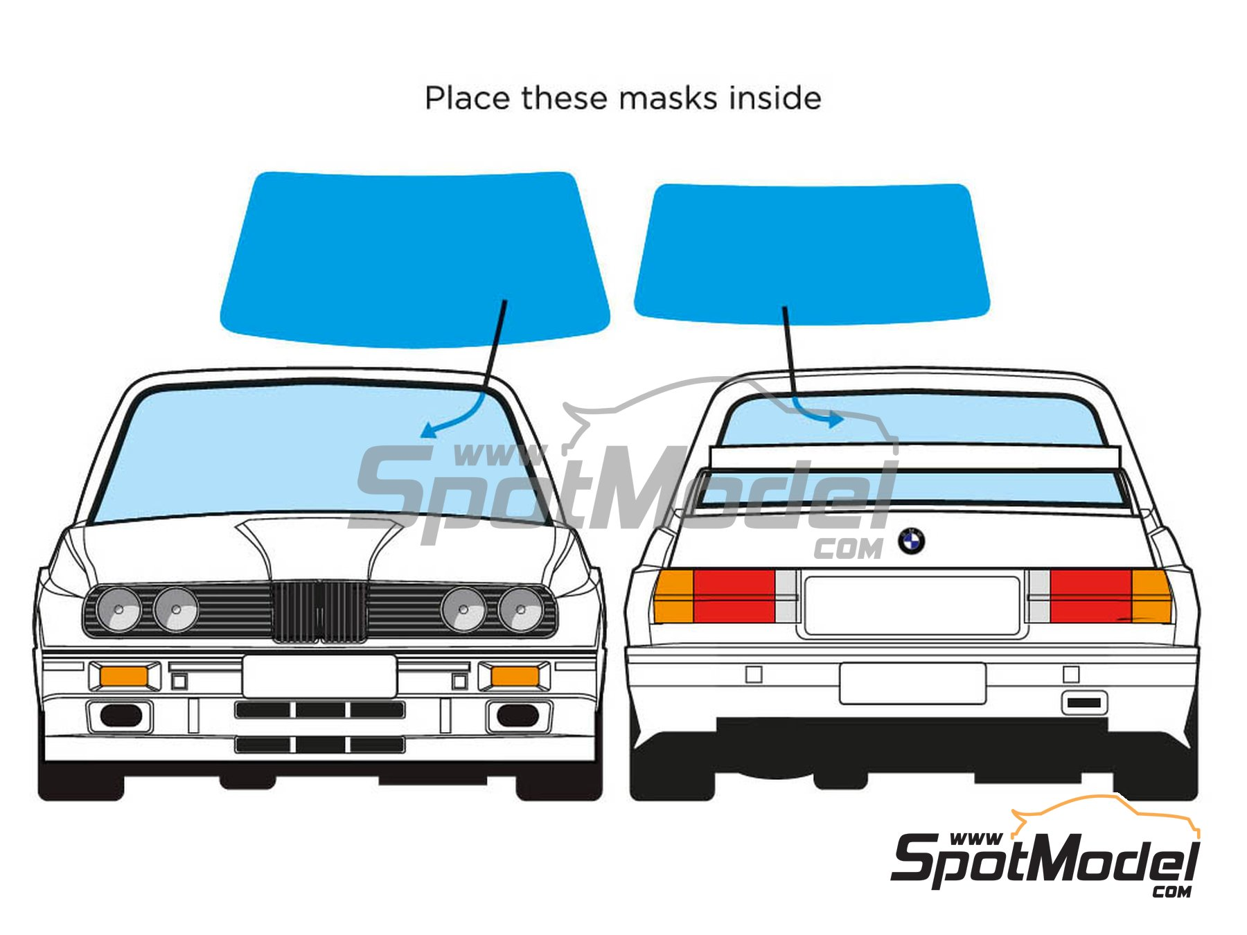 Image 2: BMW M3 E30 | Window frame paint masks in 1/24 scale manufactured by Decalcas (ref. DCL-MSK001)
