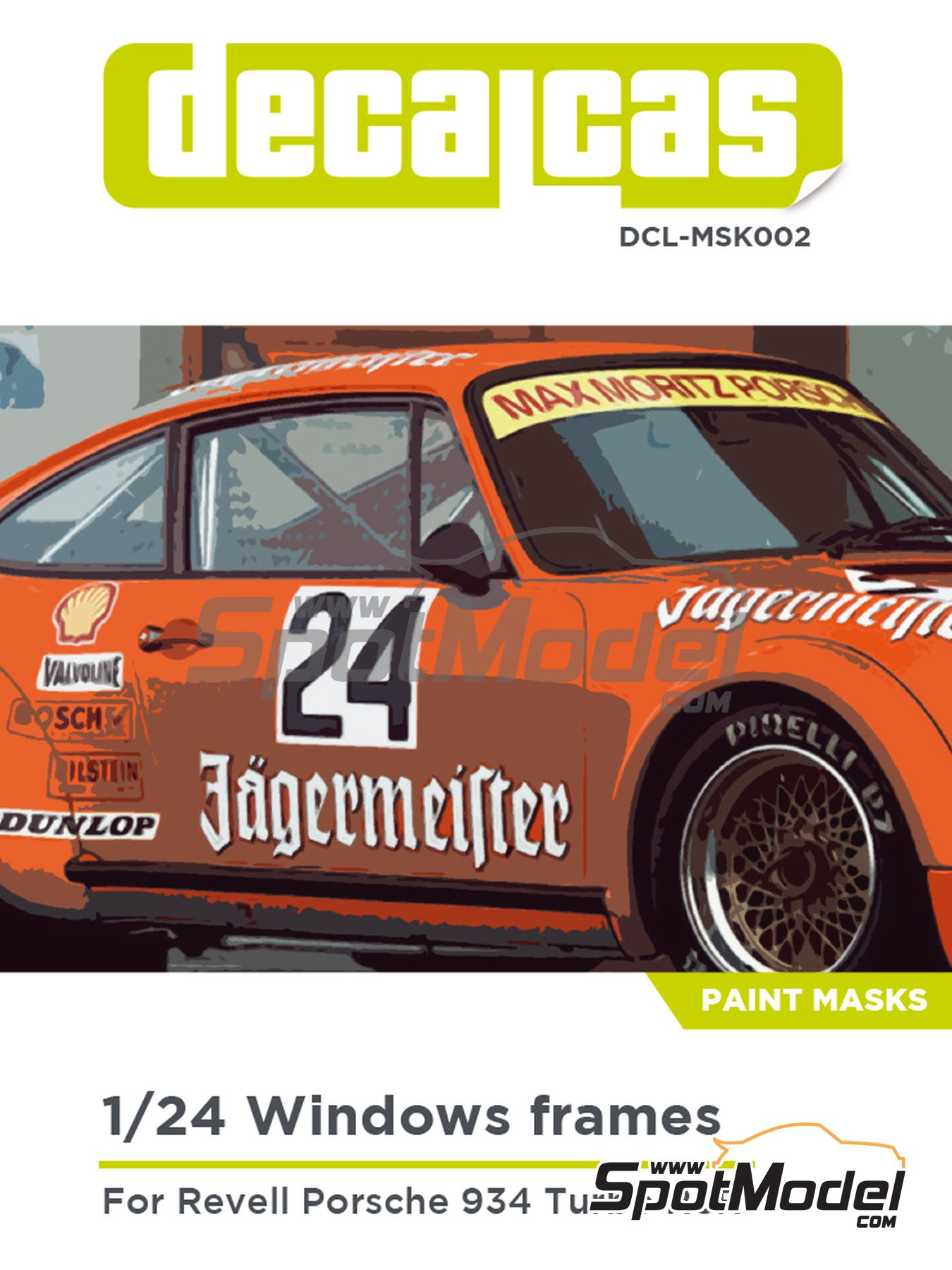 Porsche 934 Turbo RSR Group 4 | Window frame paint masks in 1/24 scale manufactured by Decalcas (ref. DCL-MSK002) image