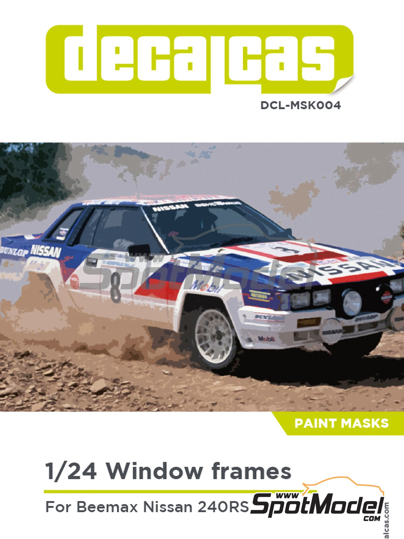 Nissan 240RS | Window frame paint masks in 1/24 scale manufactured by Decalcas (ref. DCL-MSK004) image
