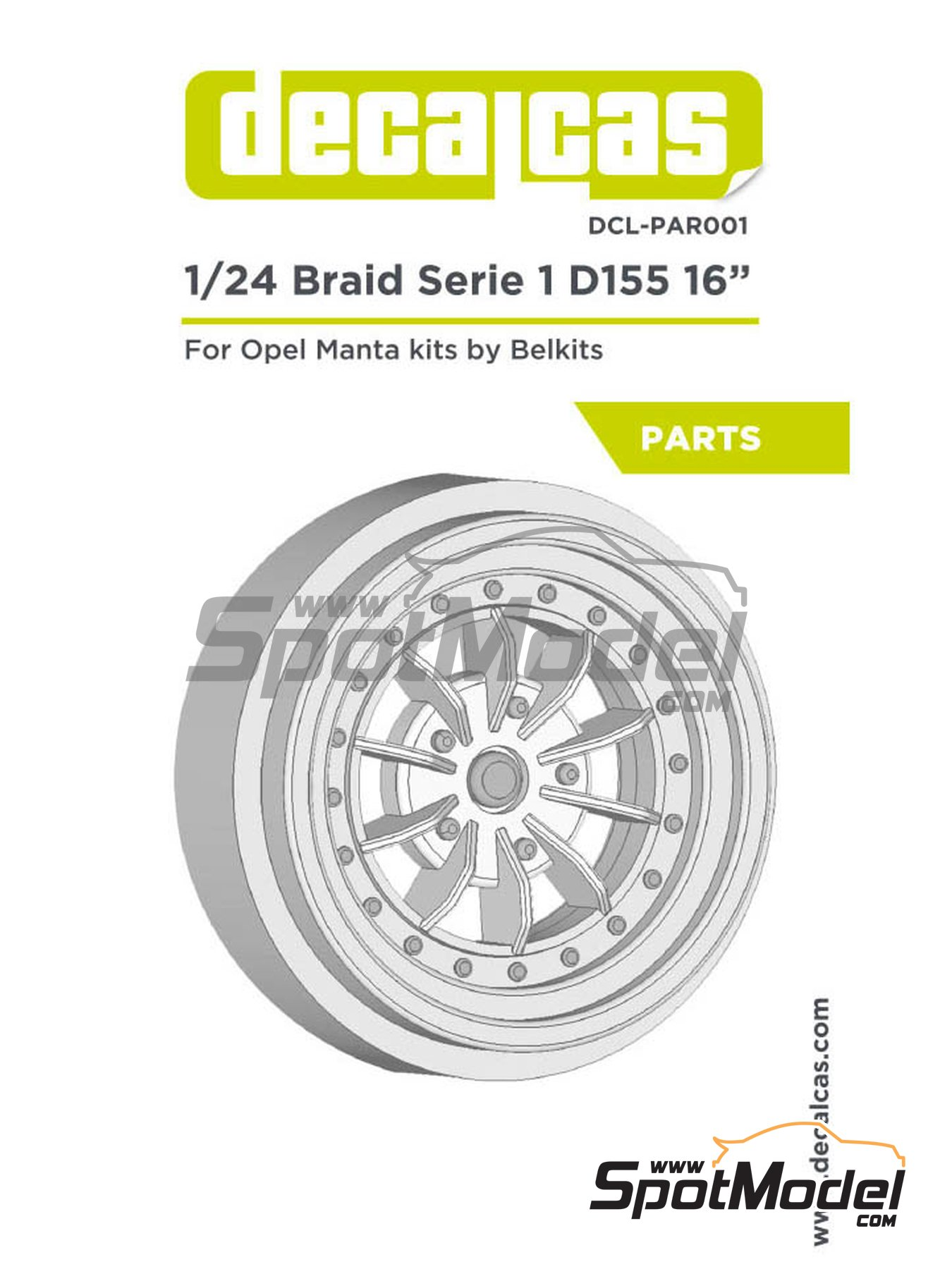 Braid Serie 1 D155 16 inches | Rims in 1/24 scale manufactured by Decalcas (ref.DCL-PAR001) image