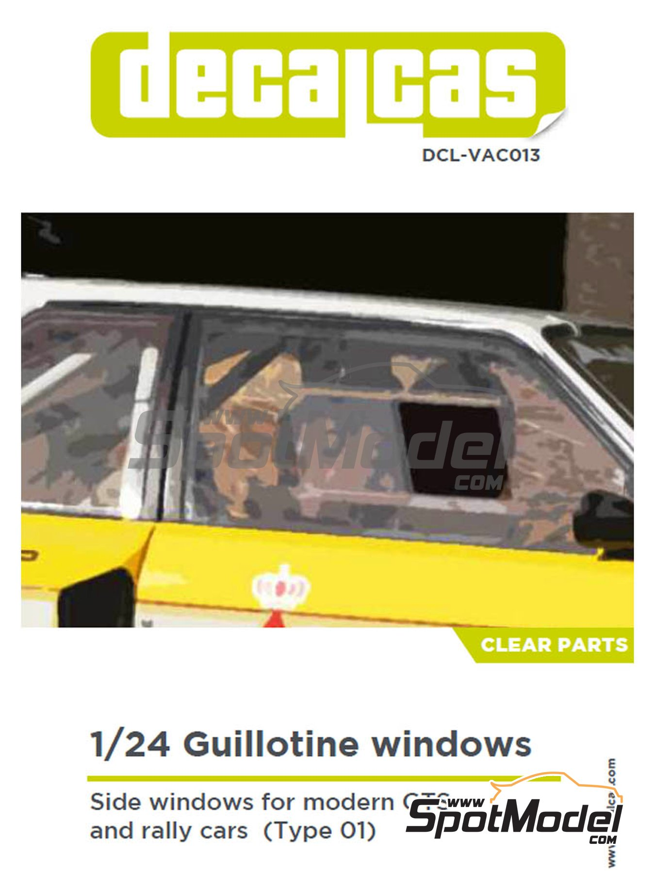 Guillotine windows for modern GTS and rally cars - Type 01 | Clear parts in 1/24 scale manufactured by Decalcas (ref. DCL-VAC013) image