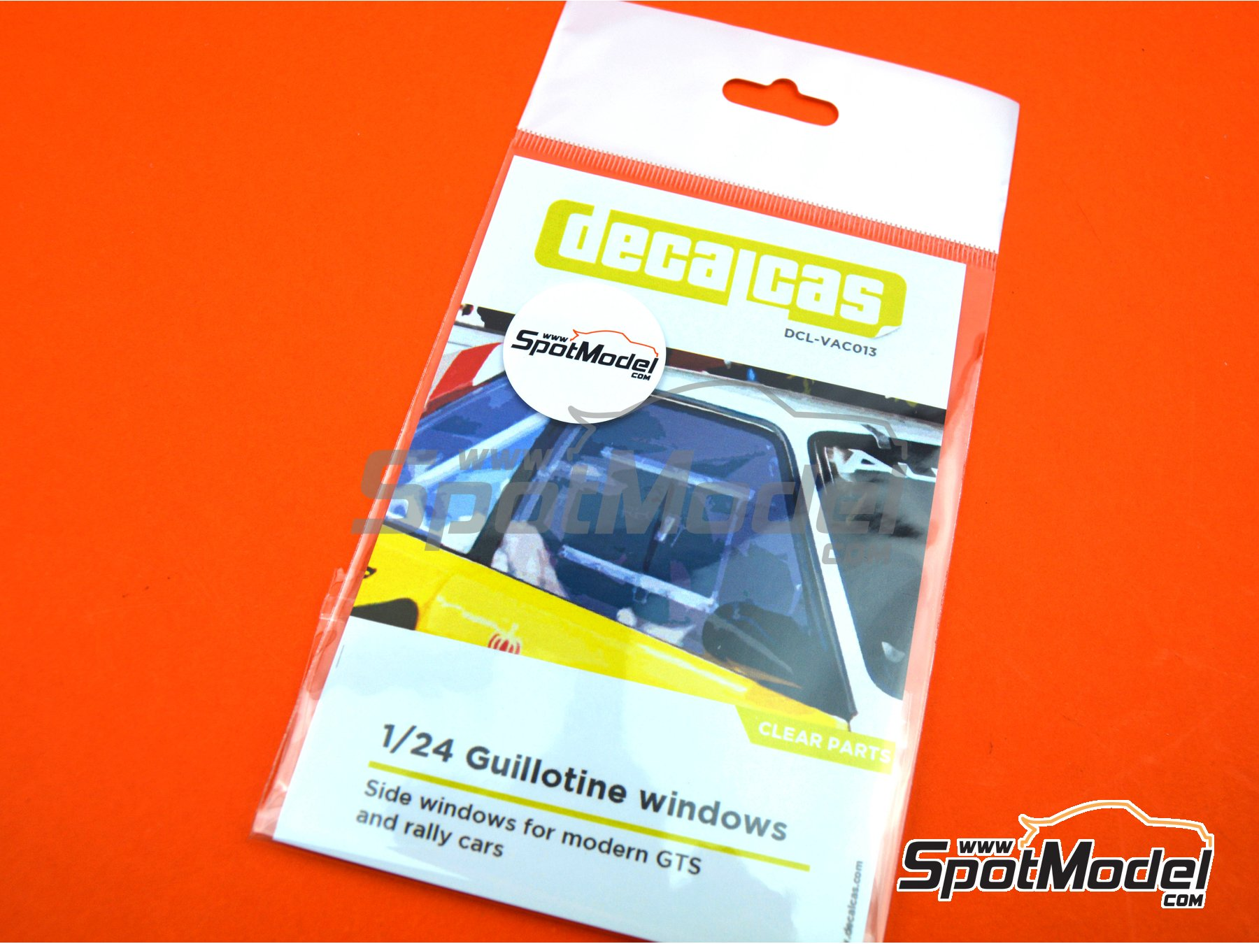 Image 3: Guillotine windows for modern GTS and rally cars - Type 01   Clear parts in 1/24 scale manufactured by Decalcas (ref.DCL-VAC013)