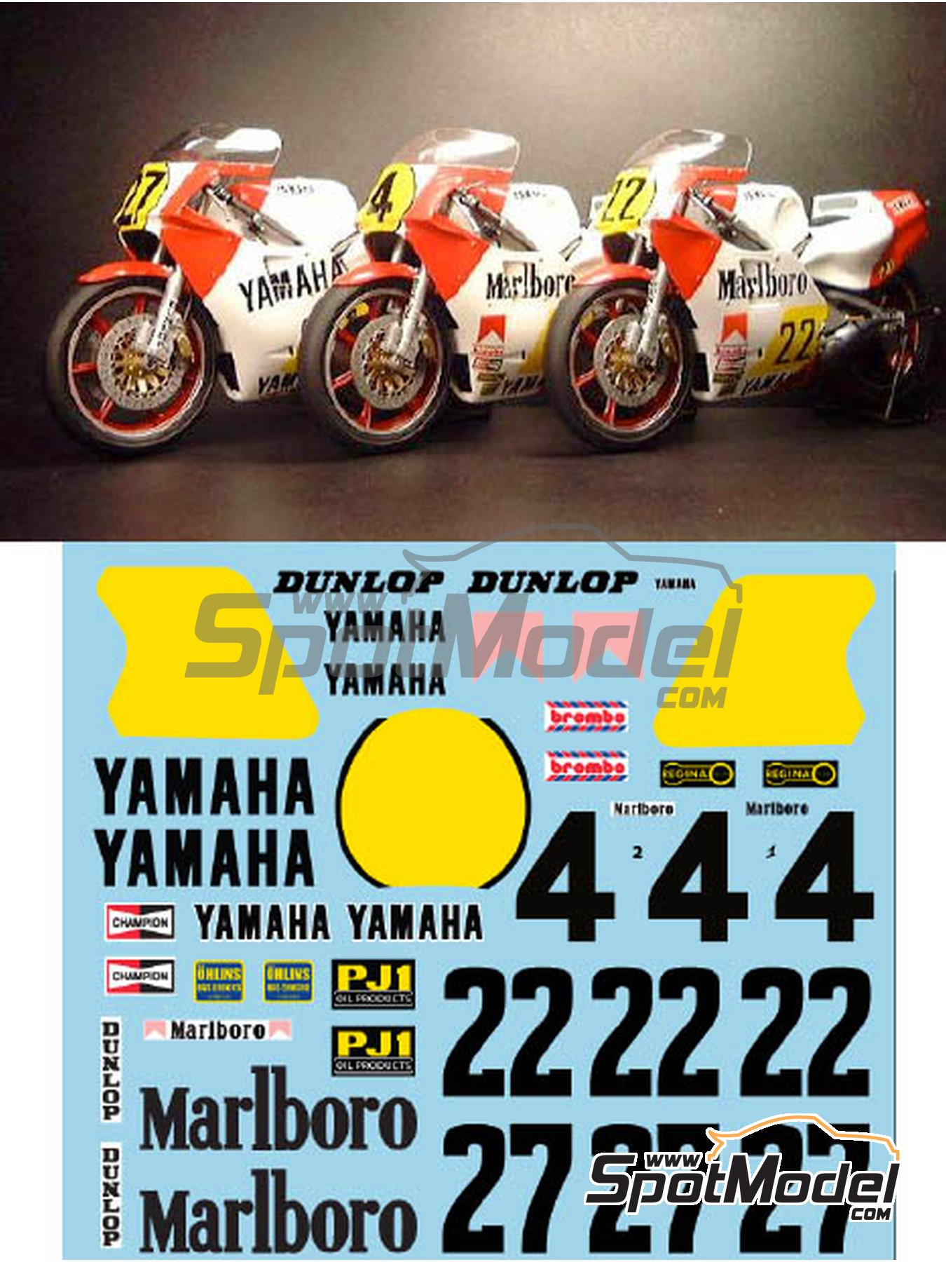 Yamaha YZR500 OW70 Marlboro - Motorcycle World Championship 1983 | Marking / livery in 1/12 scale manufactured by Decalpool (ref.DP018) image