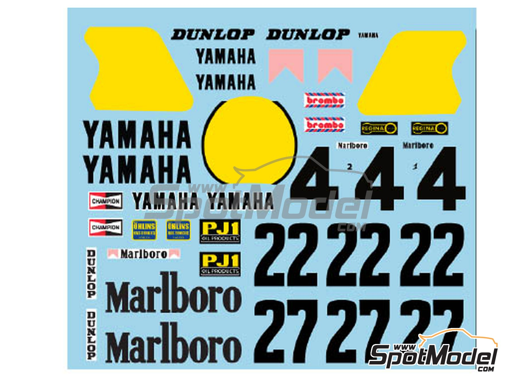 Image 1: Yamaha YZR500 OW70 Marlboro - Motorcycle World Championship 1983 | Marking / livery in 1/12 scale manufactured by Decalpool (ref.DP018)