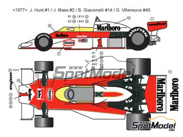 Image 1: McLaren Ford M23 Marlboro Texaco - FIA Formula 1 World Championship 1976, 1977 and 1978 | Marking / livery in 1/20 scale manufactured by Decalpool (ref.DP028)