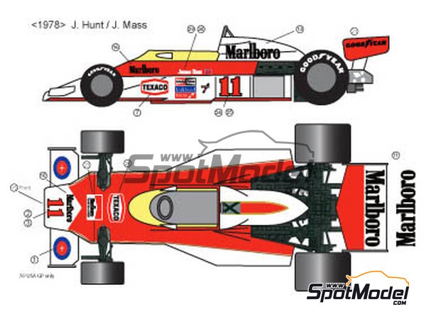 Image 2: McLaren Ford M23 Marlboro Texaco - FIA Formula 1 World Championship 1976, 1977 and 1978 | Marking / livery in 1/20 scale manufactured by Decalpool (ref.DP028)