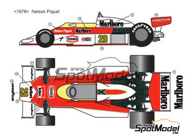Image 3: McLaren Ford M23 Marlboro Texaco - FIA Formula 1 World Championship 1976, 1977 and 1978 | Marking / livery in 1/20 scale manufactured by Decalpool (ref.DP028)