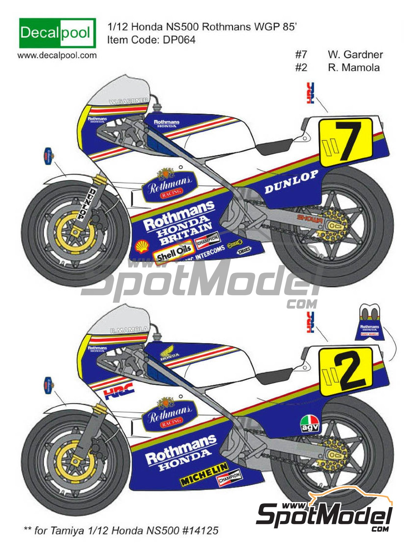 Honda NS500 Rothmans - Motorcycle World Championship 1985 | Marking / livery in 1/12 scale manufactured by Decalpool (ref.DP036) image