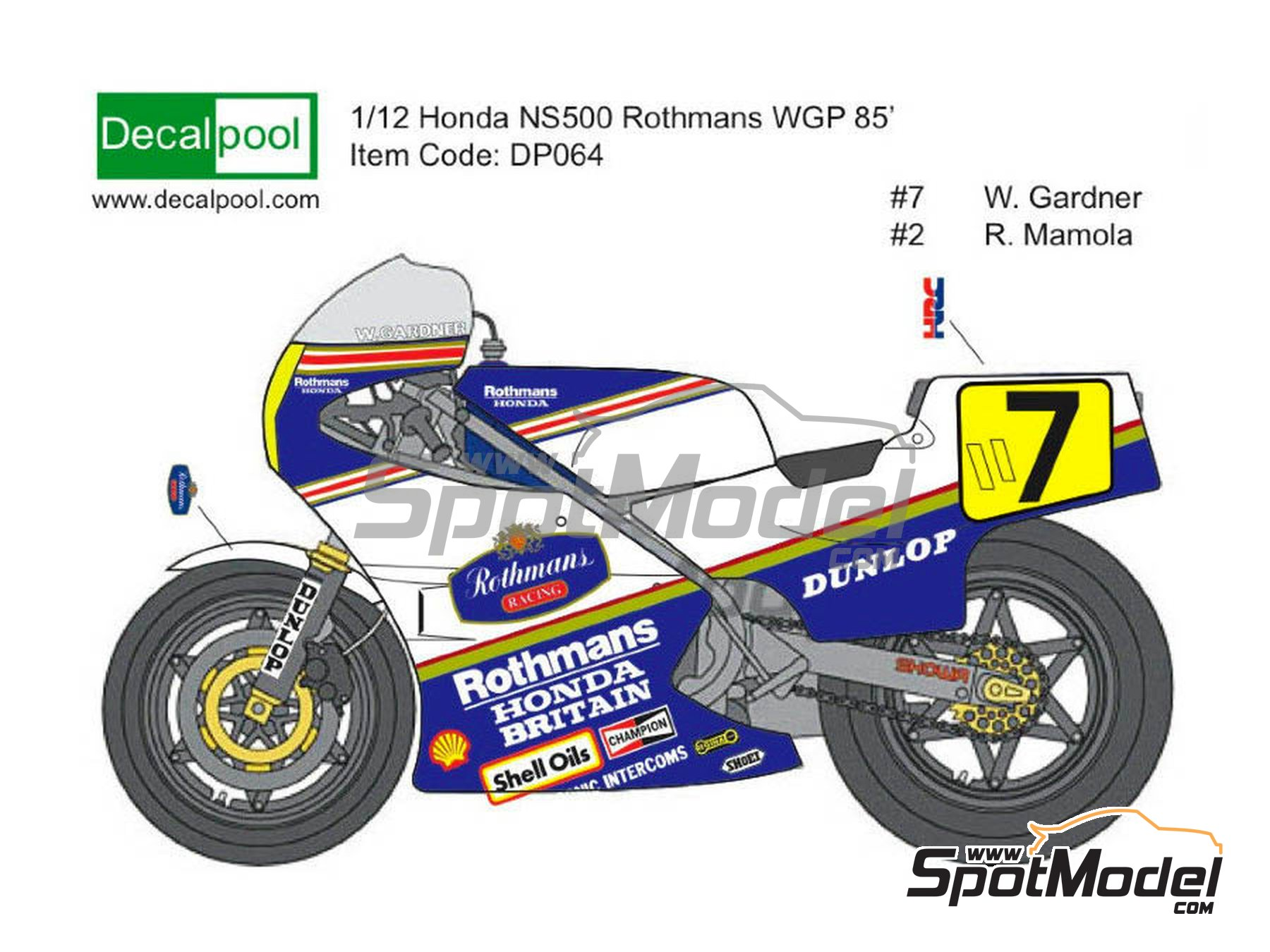 Image 1: Honda NS500 Rothmans - Motorcycle World Championship 1985 | Marking / livery in 1/12 scale manufactured by Decalpool (ref.DP036)
