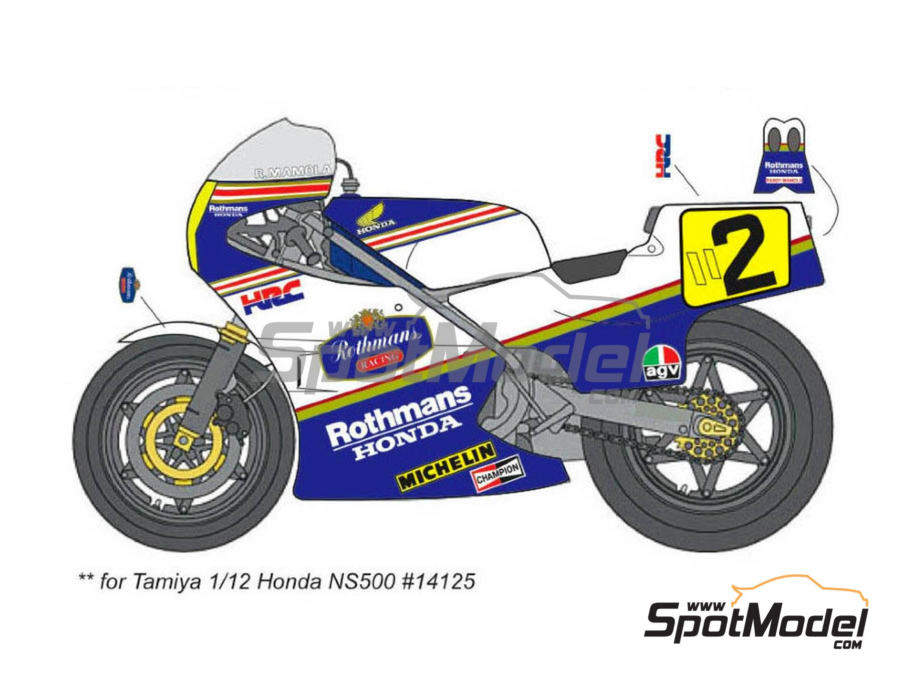 Image 2: Honda NS500 Rothmans - Motorcycle World Championship 1985 | Marking / livery in 1/12 scale manufactured by Decalpool (ref.DP036)