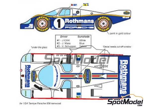 Image 1: Porsche 956 - 24 Hours Le Mans 1983 | Marking / livery in 1/24 scale manufactured by Decalpool (ref. DP047)