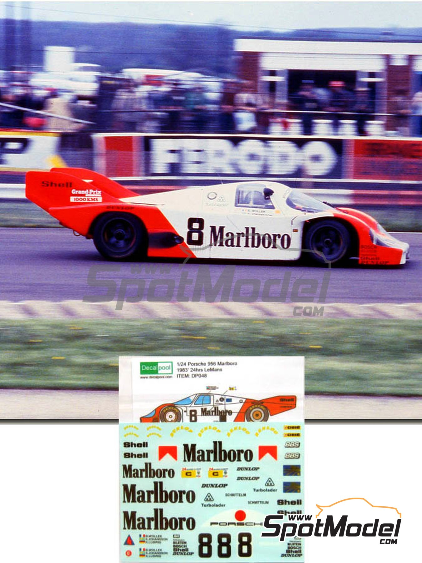 Porsche 956 Marlboro - 24 Hours Le Mans 1983 | Marking / livery in 1/24 scale manufactured by Decalpool (ref. DP048) image