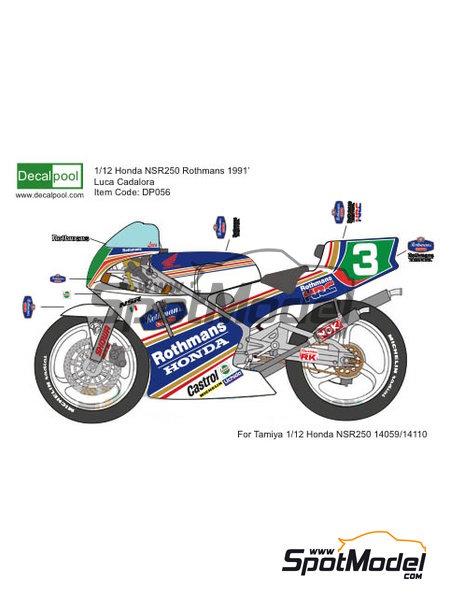 Honda NSR250 Rothmans - Campeonato del Mundo de Motociclismo 1991 | Decoración en escala1/12 fabricado por Decalpool (ref.DP056) image