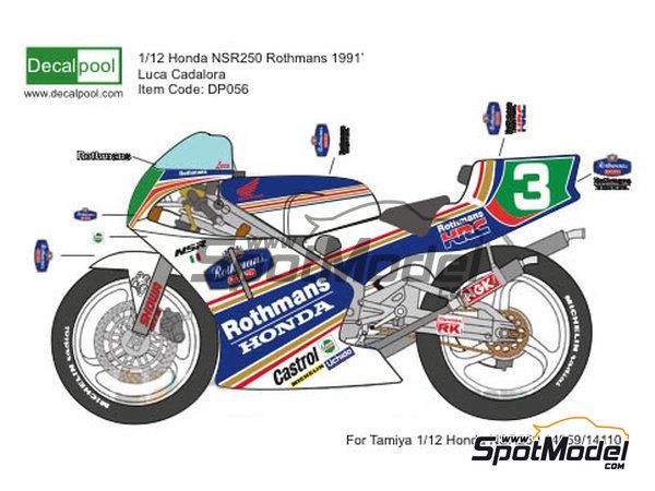 Image 1: Honda NSR250 Rothmans - Campeonato del Mundo de Motociclismo 1991 | Decoración en escala1/12 fabricado por Decalpool (ref.DP056)