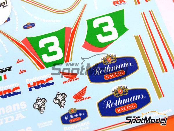 Image 5: Honda NSR250 Rothmans - Campeonato del Mundo de Motociclismo 1991 | Decoración en escala1/12 fabricado por Decalpool (ref.DP056)