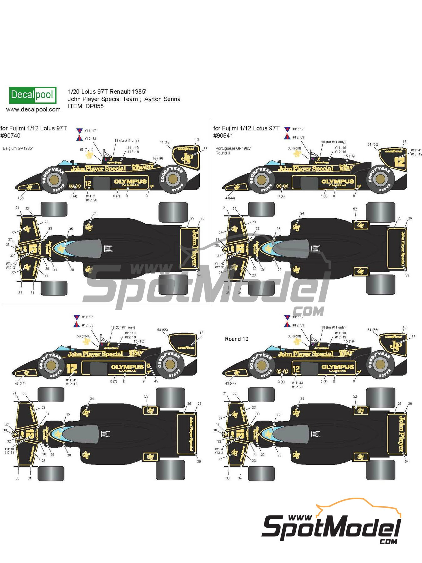 Lotus Renault 97T John Player Special - Belgian Formula 1 Grand Prix, Portuguese Formula 1 Grand Prix 1985 | Marking / livery in 1/20 scale manufactured by Decalpool (ref.DP058) image