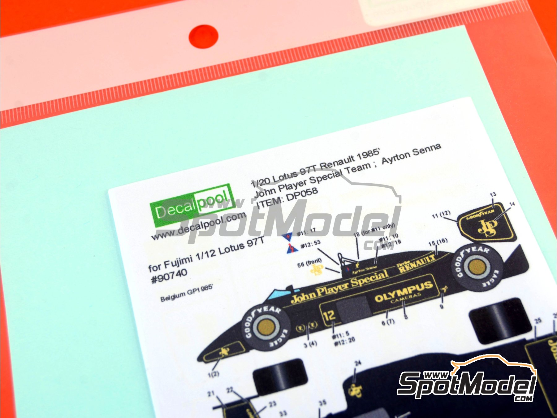 Image 1: Lotus Renault 97T John Player Special - Belgian Formula 1 Grand Prix, Portuguese Formula 1 Grand Prix 1985 | Marking / livery in 1/20 scale manufactured by Decalpool (ref.DP058)