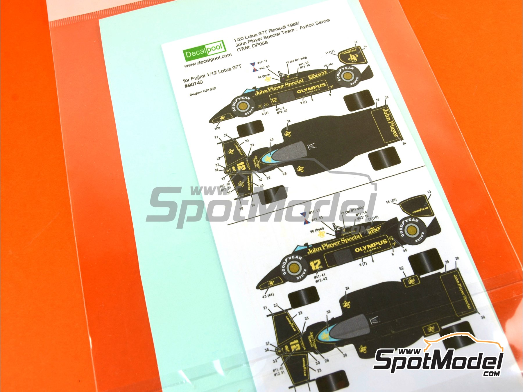 Image 2: Lotus Renault 97T John Player Special - Belgian Formula 1 Grand Prix, Portuguese Formula 1 Grand Prix 1985 | Marking / livery in 1/20 scale manufactured by Decalpool (ref.DP058)