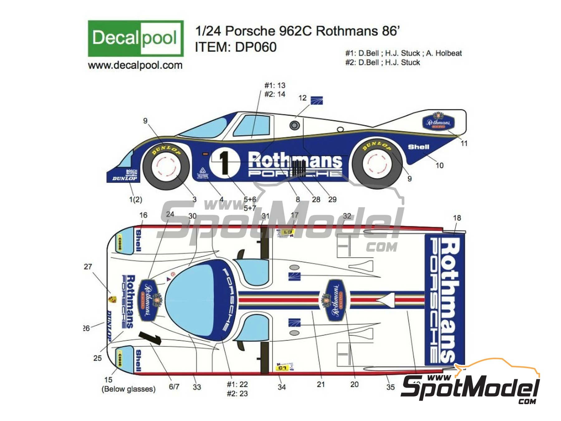 Image 1: Porsche 962C Rothmans - 24 Hours Le Mans 1986   Marking / livery in 1/24 scale manufactured by Decalpool (ref.DP060)