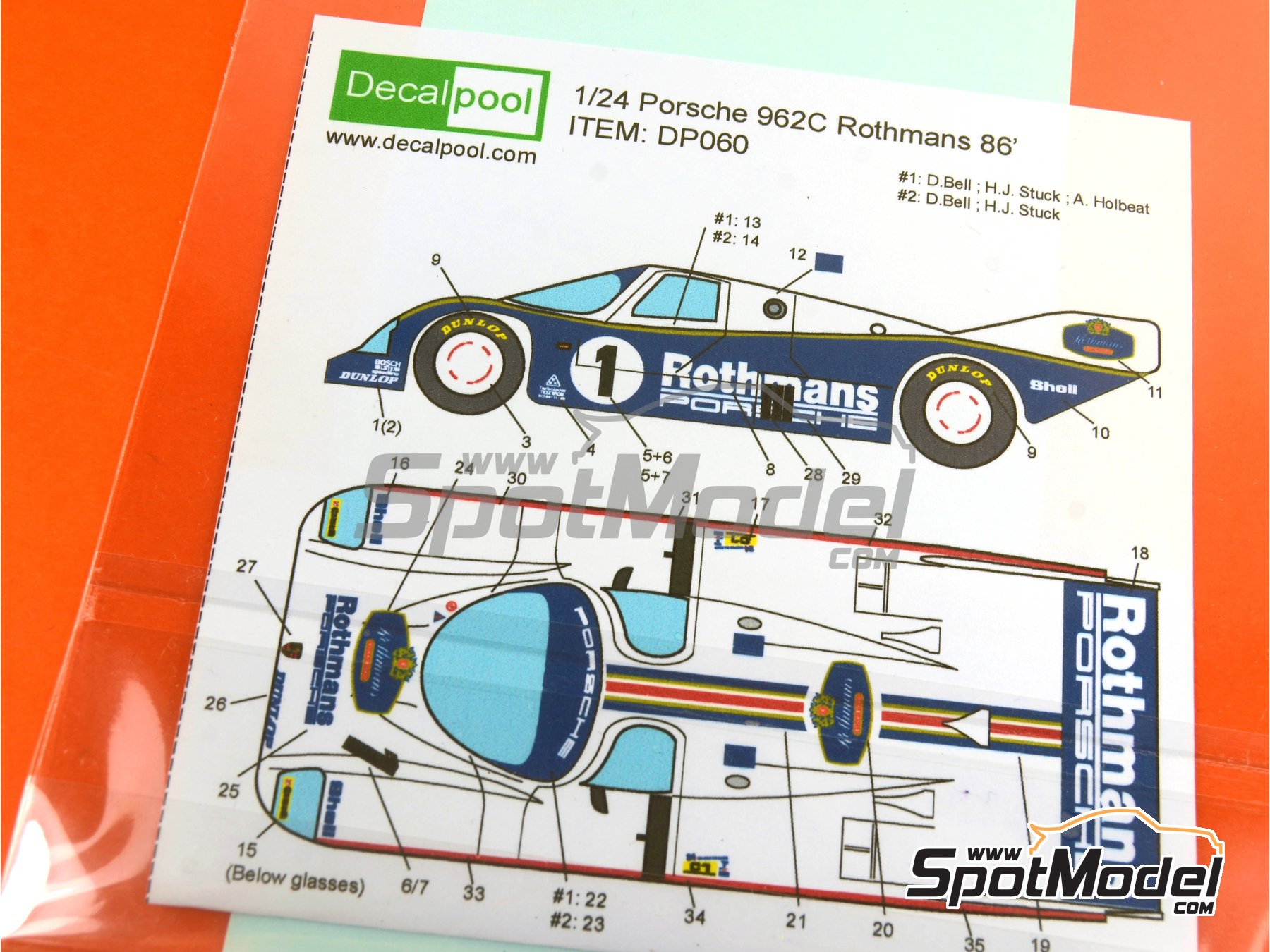 Image 5: Porsche 962C Rothmans - 24 Hours Le Mans 1986   Marking / livery in 1/24 scale manufactured by Decalpool (ref.DP060)