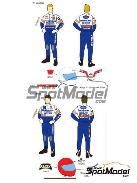 Wayne Gardner and Randy Mamola Rothmans - Motorcycle World Championship 1985   Marking / livery in 1/12 scale manufactured by Decalpool (ref.DP064) image