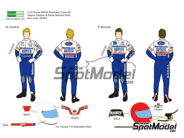 Image 1: Wayne Gardner and Randy Mamola Rothmans - Motorcycle World Championship 1985   Marking / livery in 1/12 scale manufactured by Decalpool (ref.DP064)