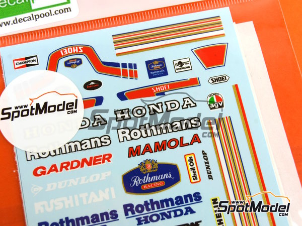 Image 2: Wayne Gardner and Randy Mamola Rothmans - Motorcycle World Championship 1985 | Marking / livery in 1/12 scale manufactured by Decalpool (ref. DP064)