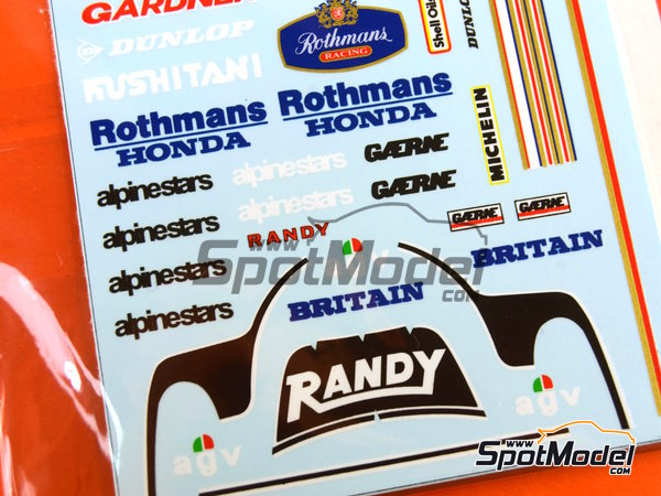 Image 3: Wayne Gardner and Randy Mamola Rothmans - Motorcycle World Championship 1985 | Marking / livery in 1/12 scale manufactured by Decalpool (ref. DP064)