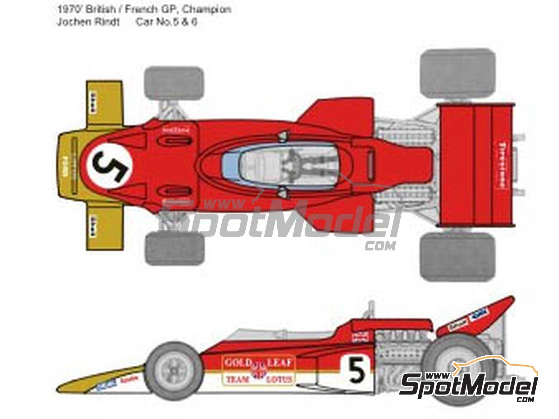Image 1: Lotus Ford Type 72C Gold Leaf - German Formula 1 Grand Prix, French Formula 1 Grand Prix, British Formula 1 Grand Prix, Italian Formula 1 Grand Prix, USA Formula 1 Grand Prix 1970 | Marking / livery in 1/20 scale manufactured by Decalpool (ref.DP065)