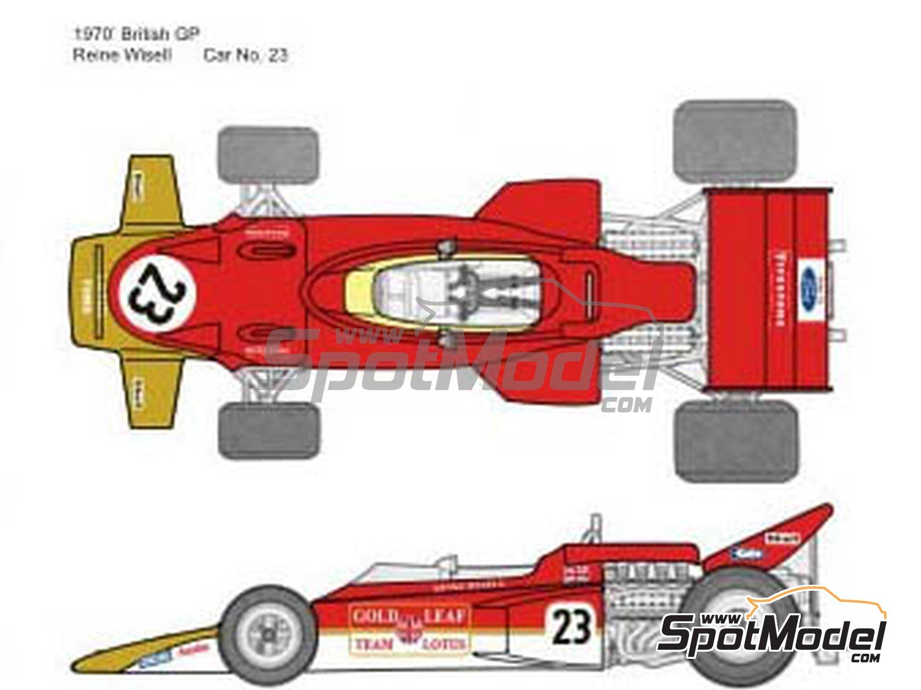 Image 2: Lotus Ford Type 72C Gold Leaf - German Formula 1 Grand Prix, French Formula 1 Grand Prix, British Formula 1 Grand Prix, Italian Formula 1 Grand Prix, USA Formula 1 Grand Prix 1970 | Marking / livery in 1/20 scale manufactured by Decalpool (ref.DP065)