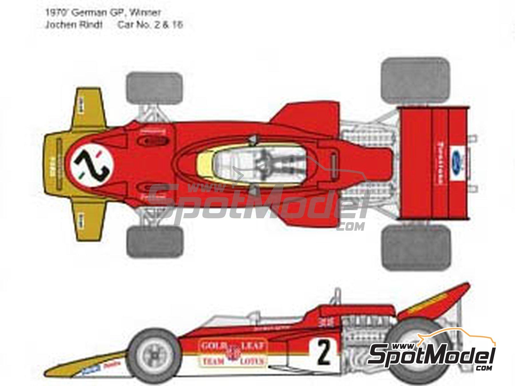 Image 3: Lotus Ford Type 72C Gold Leaf - German Formula 1 Grand Prix, French Formula 1 Grand Prix, British Formula 1 Grand Prix, Italian Formula 1 Grand Prix, USA Formula 1 Grand Prix 1970 | Marking / livery in 1/20 scale manufactured by Decalpool (ref.DP065)