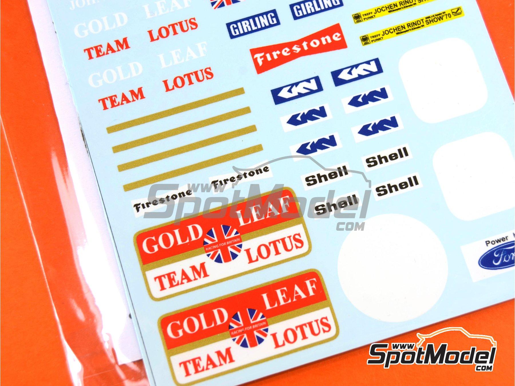 Image 8: Lotus Ford Type 72C Gold Leaf - German Formula 1 Grand Prix, French Formula 1 Grand Prix, British Formula 1 Grand Prix, Italian Formula 1 Grand Prix, USA Formula 1 Grand Prix 1970 | Marking / livery in 1/20 scale manufactured by Decalpool (ref.DP065)