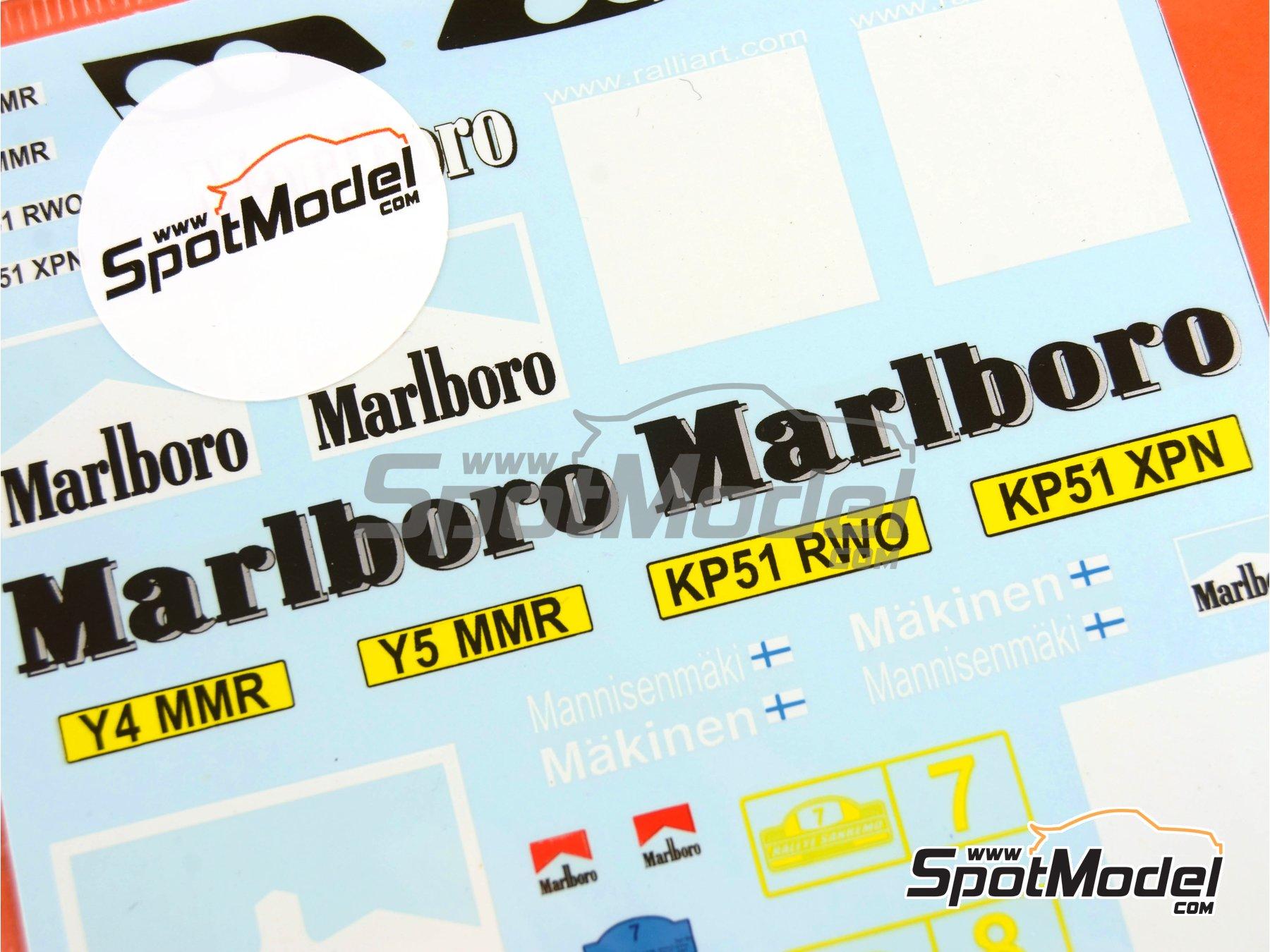 Image 3: Mitsubishi Lancer Evo II Marlboro - Rally de San Remo 2001   Calcas de agua en escala1/24 fabricado por Decalpool (ref.DP073)