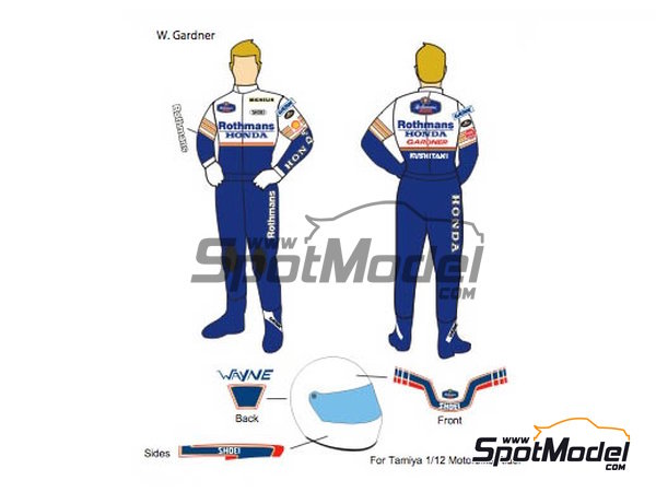 Image 1: Wayne Gardner, Freddie Spencer Rothmans - Motorcycle World Championship 1986 | Decals in 1/12 scale manufactured by Decalpool (ref. DP090)