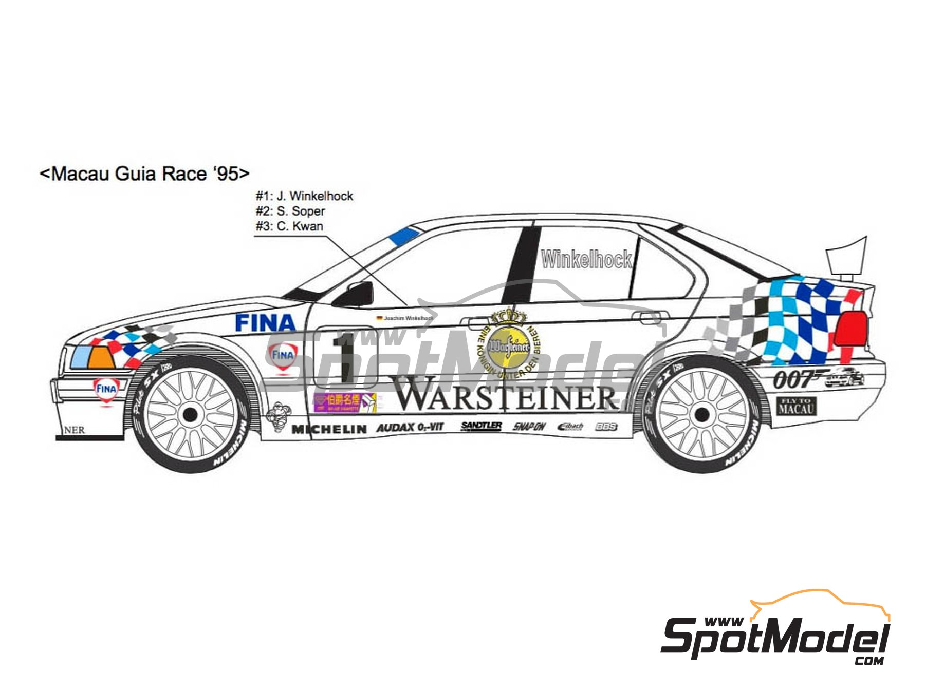 Image 2: BMW 318i Warsteiner - Guia Race of Macau, German Supertouring Championship - STW 1995 | Marking / livery in 1/24 scale manufactured by Decalpool (ref.DP109)