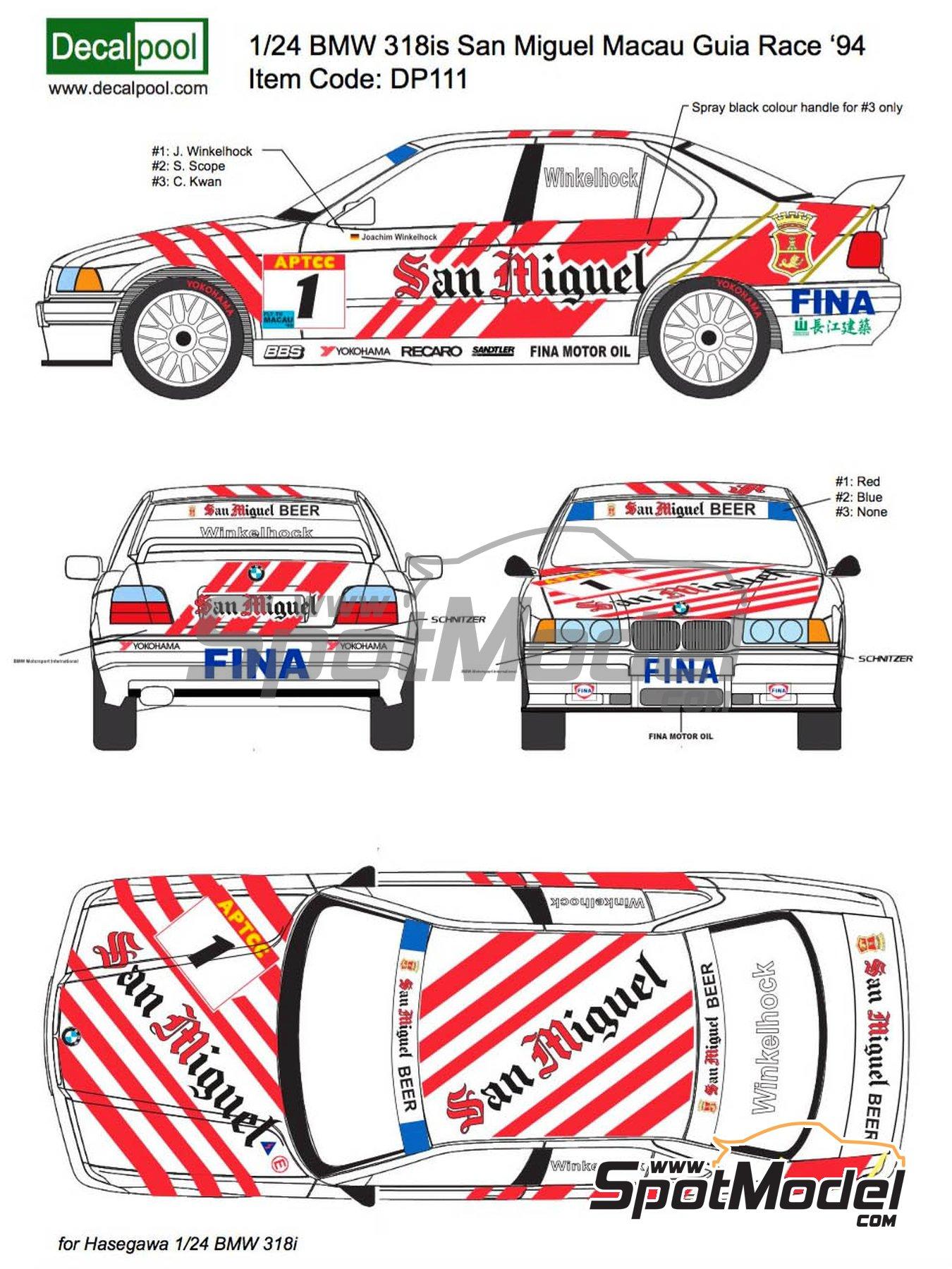 BMW 318i San Miguel - Guia Race de Macau 1994 | Decoración en escala1/24 fabricado por Decalpool (ref.DP116) image