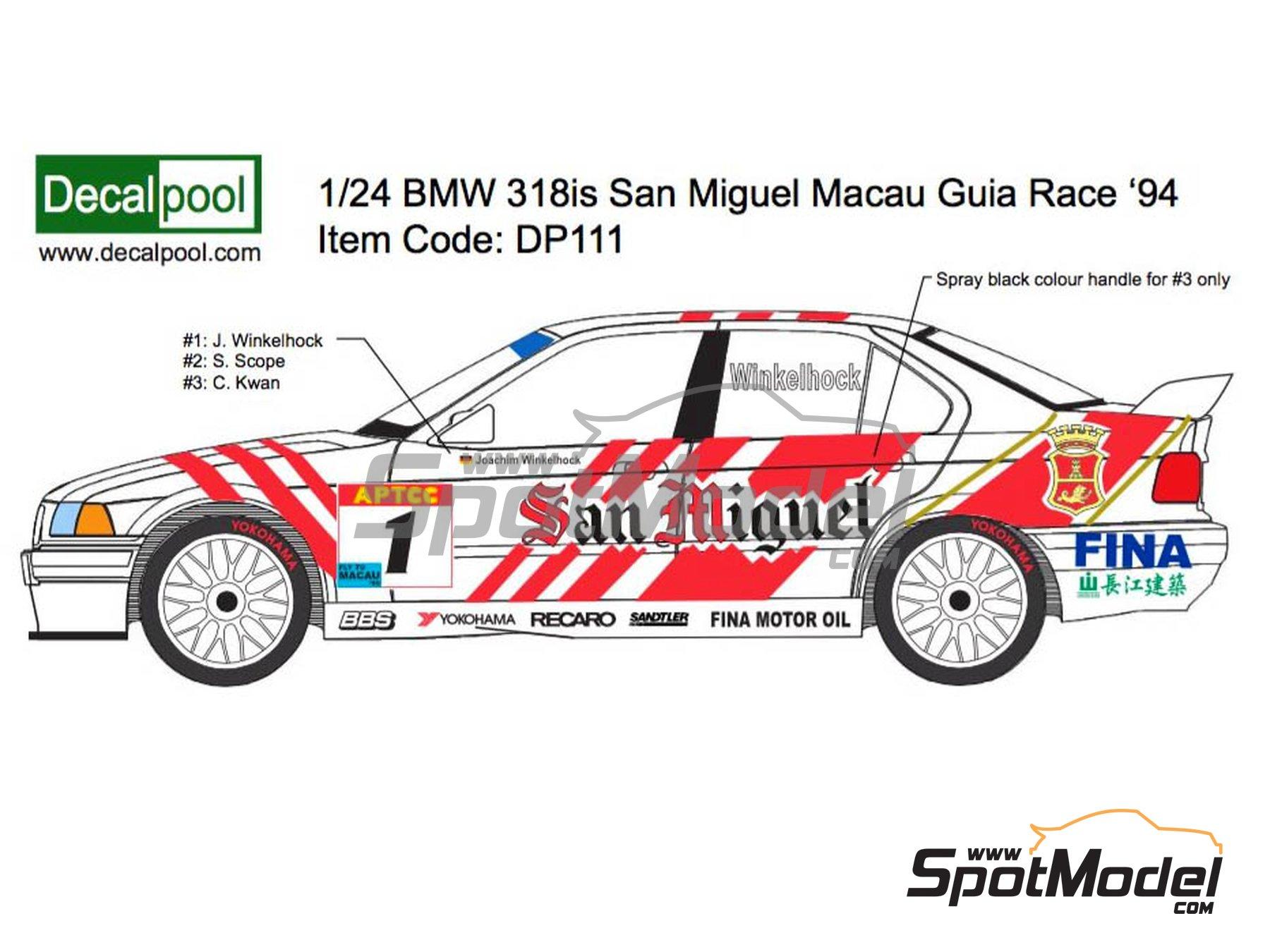 Image 1: BMW 318i San Miguel - Guia Race de Macau 1994 | Decoración en escala1/24 fabricado por Decalpool (ref.DP116)