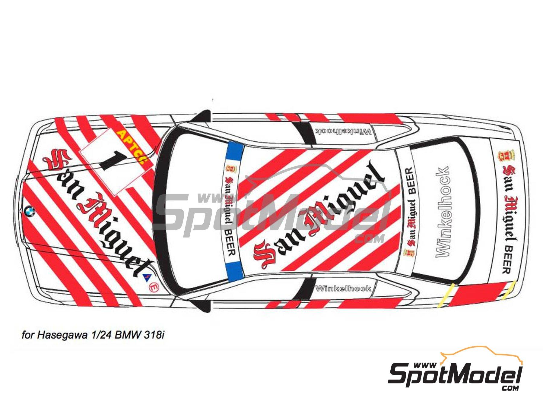 Image 3: BMW 318i San Miguel - Guia Race de Macau 1994 | Decoración en escala1/24 fabricado por Decalpool (ref.DP116)