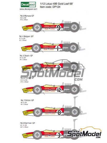 Lotus Ford Type 49B Gold Leaf - Gran Premio de Fórmula 1 de Belgica, Gran Premio de Fórmula 1 de Francia, Gran Premio de Formula 1 de Holanda, Gran Premio de Fórmula 1 de Inglaterra, Gran Premio de Formula 1 de Mónaco 1968 | Decoración en escala1/12 fabricado por Decalpool (ref.DP124) image