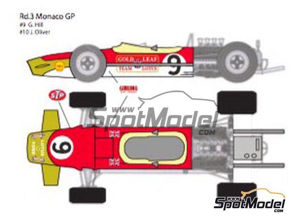 Image 1: Lotus Ford Type 49B Gold Leaf - Gran Premio de Fórmula 1 de Belgica, Gran Premio de Fórmula 1 de Francia, Gran Premio de Formula 1 de Holanda, Gran Premio de Fórmula 1 de Inglaterra, Gran Premio de Formula 1 de Mónaco 1968 | Decoración en escala1/12 fabricado por Decalpool (ref.DP124)