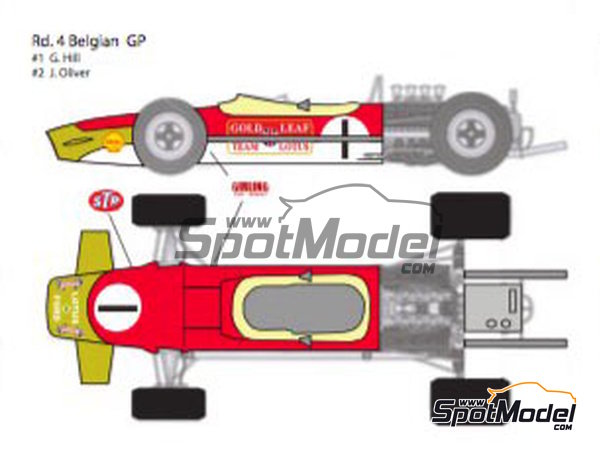 Image 2: Lotus Ford Type 49B Gold Leaf - Belgian Formula 1 Grand Prix, French Formula 1 Grand Prix, Dutch Formula 1 Grand Prix, British Formula 1 Grand Prix, Monaco Formula 1 Grand Prix 1968 | Marking / livery in 1/12 scale manufactured by Decalpool (ref.DP124)