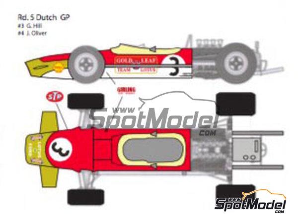 Image 3: Lotus Ford Type 49B Gold Leaf - Gran Premio de Fórmula 1 de Belgica, Gran Premio de Fórmula 1 de Francia, Gran Premio de Formula 1 de Holanda, Gran Premio de Fórmula 1 de Inglaterra, Gran Premio de Formula 1 de Mónaco 1968 | Decoración en escala1/12 fabricado por Decalpool (ref.DP124)