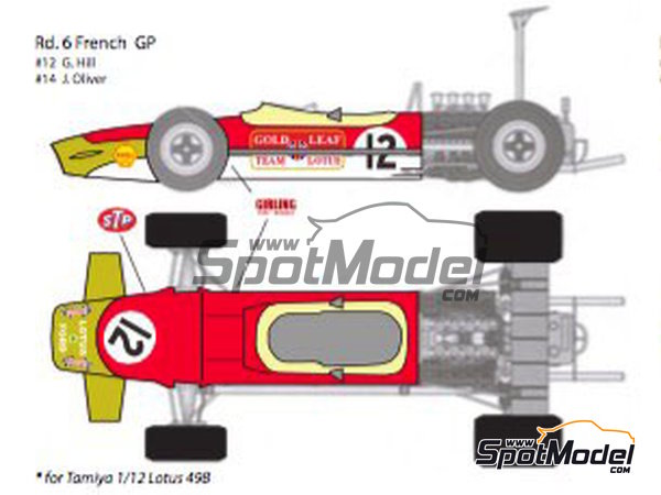 Image 4: Lotus Ford Type 49B Gold Leaf - Belgian Formula 1 Grand Prix, French Formula 1 Grand Prix, Dutch Formula 1 Grand Prix, British Formula 1 Grand Prix, Monaco Formula 1 Grand Prix 1968 | Marking / livery in 1/12 scale manufactured by Decalpool (ref.DP124)