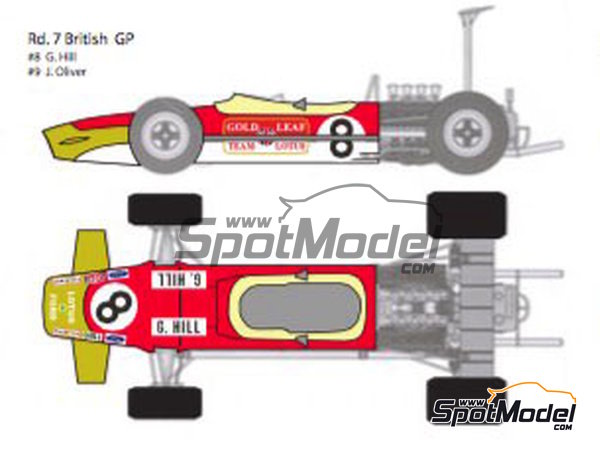 Image 5: Lotus Ford Type 49B Gold Leaf - Belgian Formula 1 Grand Prix, French Formula 1 Grand Prix, Dutch Formula 1 Grand Prix, British Formula 1 Grand Prix, Monaco Formula 1 Grand Prix 1968 | Marking / livery in 1/12 scale manufactured by Decalpool (ref.DP124)
