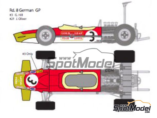 Image 6: Lotus Ford Type 49B Gold Leaf - Belgian Formula 1 Grand Prix, French Formula 1 Grand Prix, Dutch Formula 1 Grand Prix, British Formula 1 Grand Prix, Monaco Formula 1 Grand Prix 1968 | Marking / livery in 1/12 scale manufactured by Decalpool (ref.DP124)