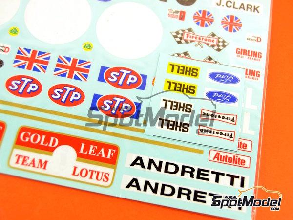 Image 9: Lotus Ford Type 49B Gold Leaf - Gran Premio de Fórmula 1 de Belgica, Gran Premio de Fórmula 1 de Francia, Gran Premio de Formula 1 de Holanda, Gran Premio de Fórmula 1 de Inglaterra, Gran Premio de Formula 1 de Mónaco 1968 | Decoración en escala1/12 fabricado por Decalpool (ref.DP124)