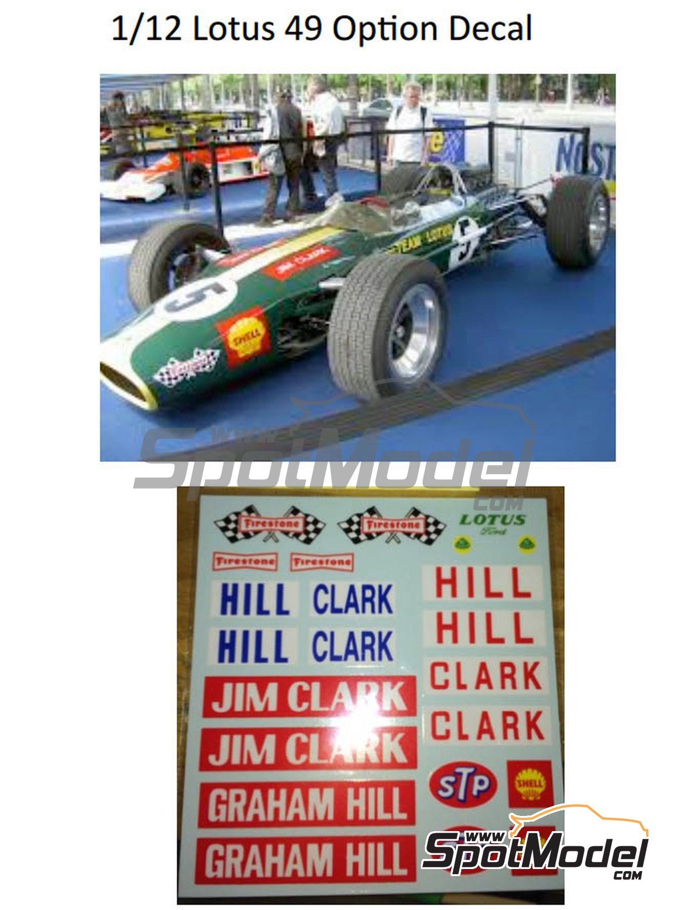 Lotus Ford Type 49 Firestone - FIA Formula 1 World Championship 1967 and 1968 | Marking / livery in 1/12 scale manufactured by Decalpool (ref.DP126) image