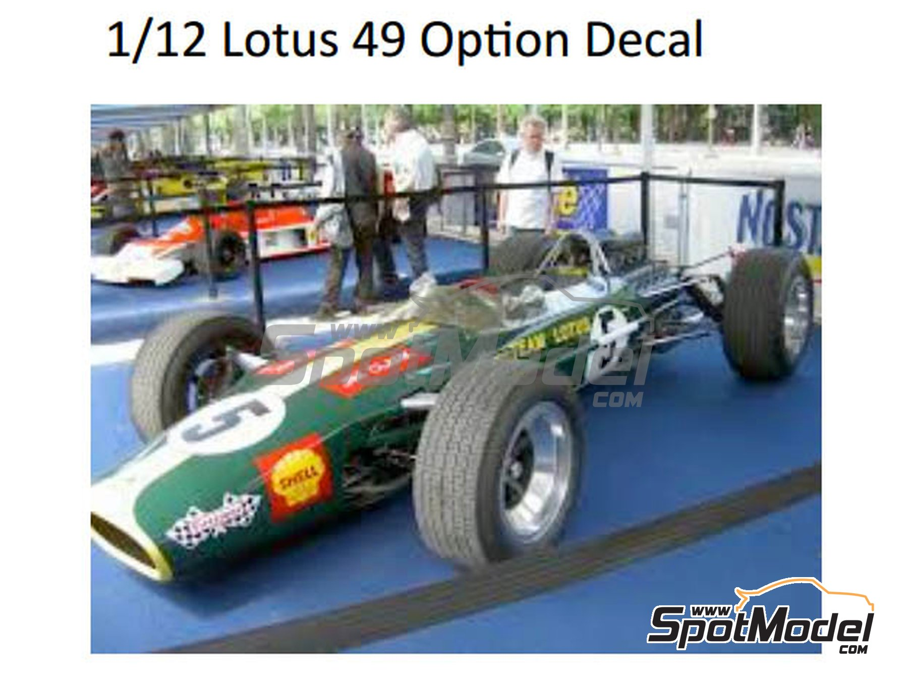 Image 1: Lotus Ford Type 49 Firestone - FIA Formula 1 World Championship 1967 and 1968 | Marking / livery in 1/12 scale manufactured by Decalpool (ref.DP126)
